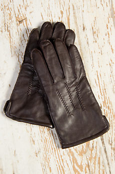 Men's Fleece-Lined Lambskin Leather Gloves