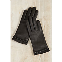 Vintage Style Gloves Womens Lambskin Leather Gloves with Braid Detail BLACK Size XLARGE 8 $65.00 AT vintagedancer.com