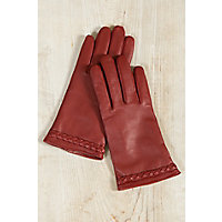 Vintage Style Gloves- Long, Wrist, Evening, Day, Leather, Lace Womens Lambskin Leather Gloves with Braid Detail CLASSIC RED Size XLARGE 8 $65.00 AT vintagedancer.com
