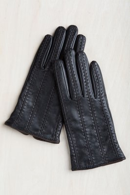 Women's Contrast Wool-Lined Lambskin Leather Gloves