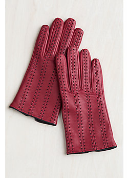 Women's Hand-Stitched Wool-Lined Lambskin Leather Gloves