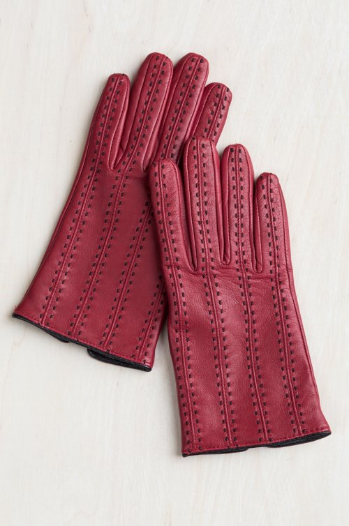 Women's Camelina Pick-Stitched Wool-Lined Lambskin Leather Gloves