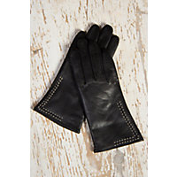 Victorian Inspired Womens Clothing Womens Contrast Stitch Lambskin Leather Gloves with Cashmere Lining BLACKCREAM Size XLARGE  8 $69.00 AT vintagedancer.com