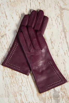 Women's Contrast Stitch Lambskin Leather Gloves with Cashmere Lining