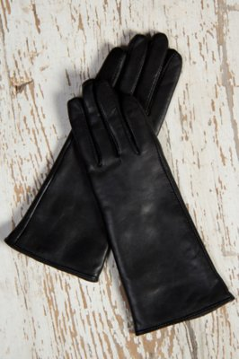 Women's Classic Long Lambskin Leather Gloves with Cashmere Lining