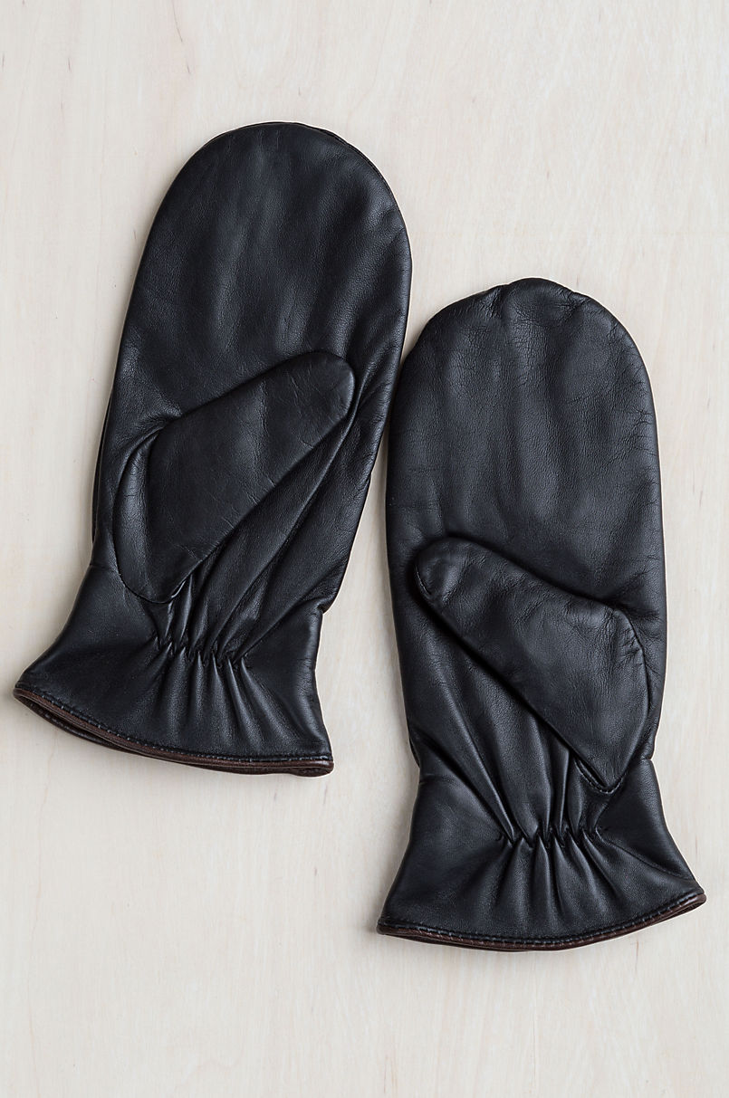 Women's Snowdrop Fleece-Lined Lambskin Leather Mittens with Finger Liners