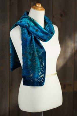 Turquoise Silk Velvet Scarf