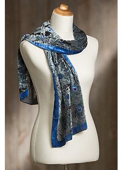 Peacock Silk Velvet Scarf