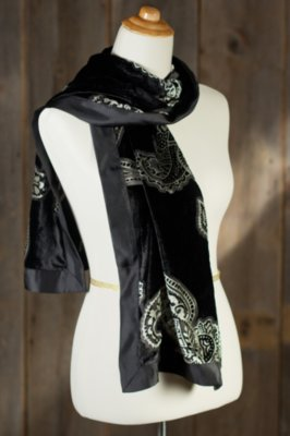 Paisley Night Velvet Burnout Silk Scarf