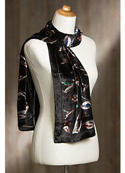 Birds Velvet Silk Scarf