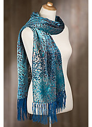 Posy Silk Velvet Scarf with Fringe