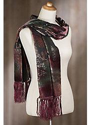 Blossom Silk Velvet Scarf with Fringe