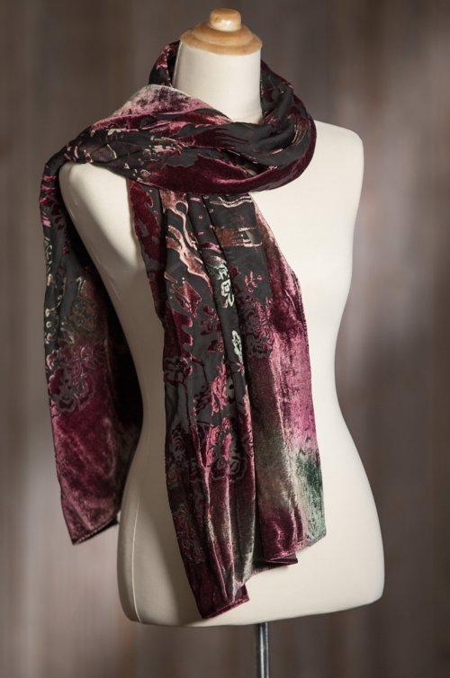 Velvet Burgundy Silk-Blend Scarf