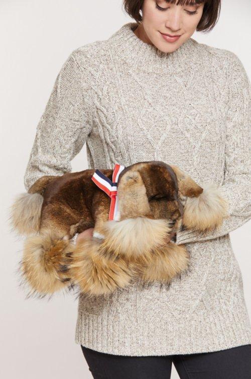 Rex Rabbit Fur Puppy with Raccoon Fur Trim