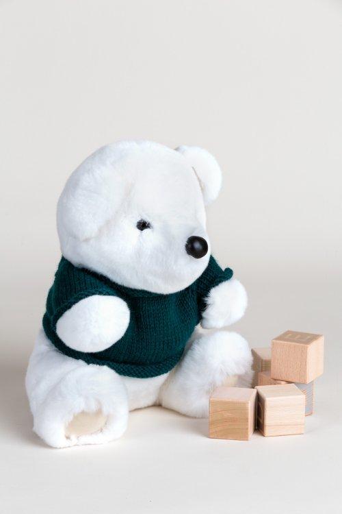 Rex Rabbit Fur Polar Bear with Removable Knit Sweater