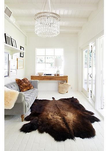 overland buffalo hide rug