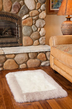 Overland 2' x 3' Bordered Long Wool Premium Australian Sheepskin Rug