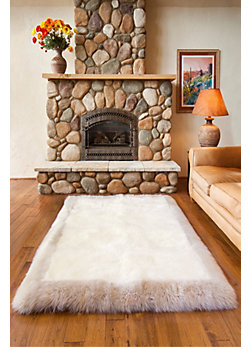 Overland 4' x 6' Bordered Long Wool Premium Australian Sheepskin Rug
