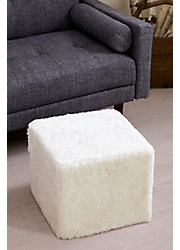Overland Curly Sheepskin Square Ottoman