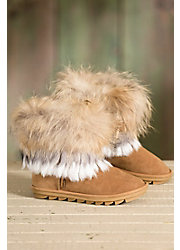 Women's Overland Nova Sheepskin Boots with Raccoon Fur Trim and Rabbit Fur Fringe