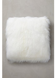 "Overland 24"" x 24"" Single-Sided Tibetan Lamb Fur Pillow"