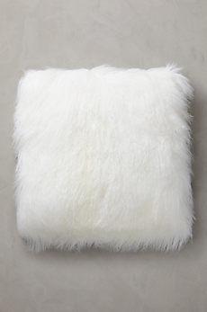 "Overland 24"" x 24"" Single-Sided Tibetan Lamb Fur Pillow"