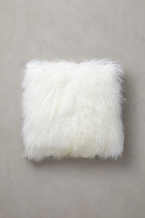 "Overland 20"" x 20"" Single-Sided Tibetan Lamb Fur Pillow"