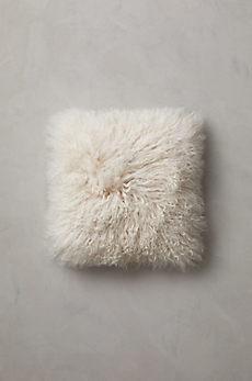 "Overland 16"" x 16"" Single-Sided Tibetan Lamb Fur Pillow"