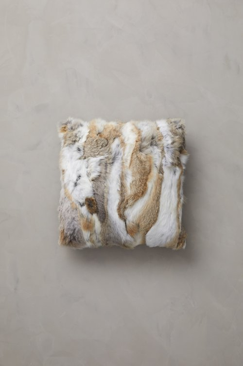 "Overland 16"" x 16"" Single-Sided Rabbit Fur Pillow"