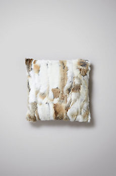 "Overland 16"" x 16"" Single-Sided Rabbit Fur Pillow"
