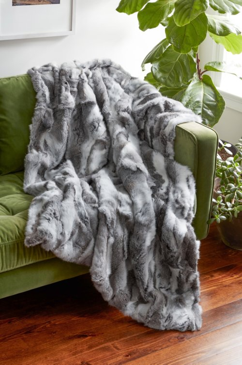 Snow Queen Rabbit Fur Throw Blanket