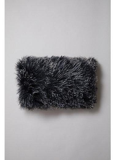 "Overland 20"" x 12"" Single-Sided Tibetan Lamb Fur Pillow"