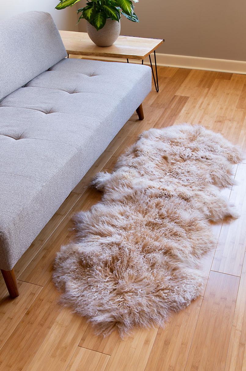 Overland 2-Pelt (2' x 5') Tibetan Lamb Fur Runner Rug
