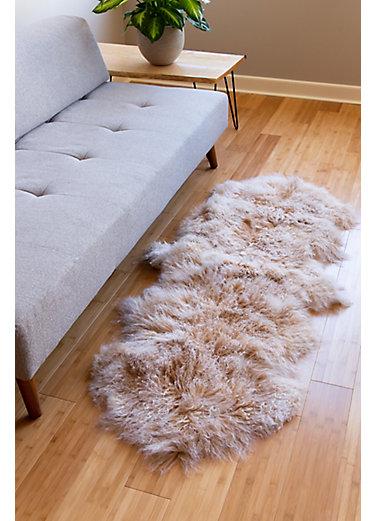 Overland 2-Pelt Tibetan Lamb Fur Rug