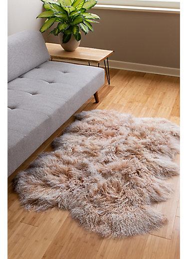 Overland 4-Pelt Tibetan Lamb Fur Rug