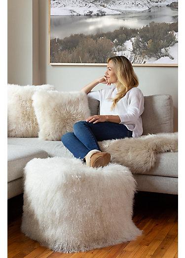Overland Tibetan Lamb Fur Ottoman