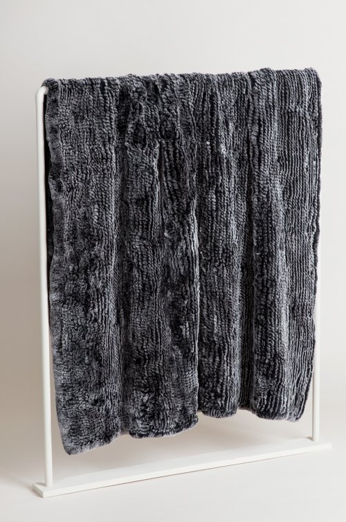 Winter Frostine Knitted Rex Rabbit Fur Throw Blanket