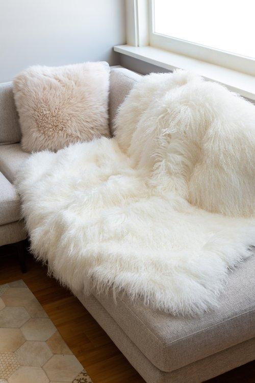 Luxury Tibetan Lamb Fur Throw Blanket