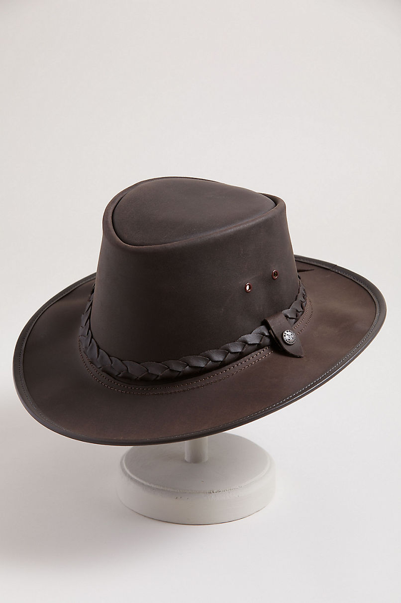 Traveler Crushable Leather Outback Hat