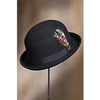 1930s Mens Hat Fashion Crushable Wool Derby Bowler Hat with Feather Accent BLACK Size XXLarge 7 34 - 7 78 $39.00 AT vintagedancer.com