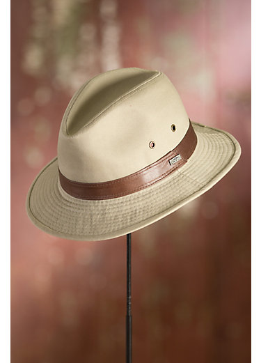 Washed Twill Safari Hat with Leather Band
