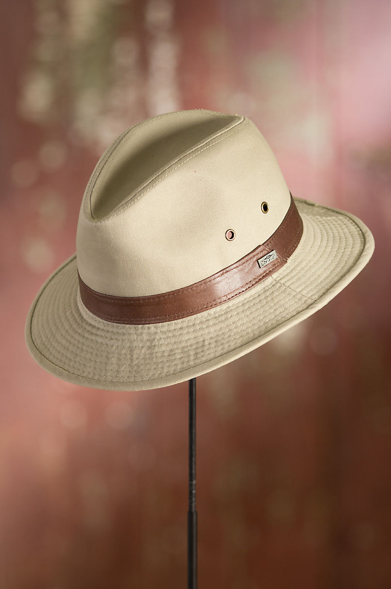 58239067e29 Washed Twill Safari Hat with Leather Band