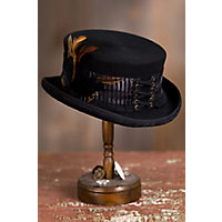 Victorian Style Hats, Bonnets, Caps, Patterns Steampunk London Lace Wool Top Hat $85.00 AT vintagedancer.com