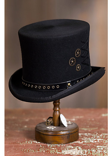 Steampunk Trickster Wool Felt Top Hat