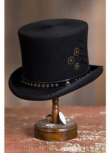 Steampunk Trickster Wool Felt Top Hat