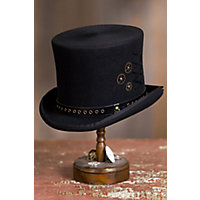 Men's Steampunk Clothing, Costumes, Fashion Steampunk Trickster Wool Felt Top Hat BLACK Size XLARGE 7 12â7 58 $85.00 AT vintagedancer.com