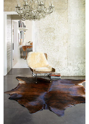 overland dark brindle exotic cowhide rug