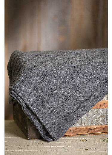 Cable Knitted Peruvian Baby Alpaca Wool-Blend Throw