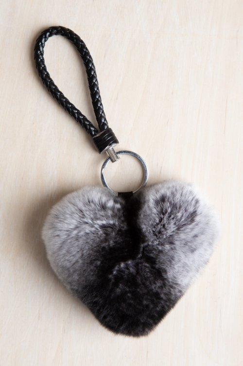 Rex Rabbit Fur Heart Keychain