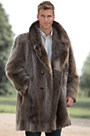 Dominic Double-Breasted Long-Haired Beaver Fur Coat